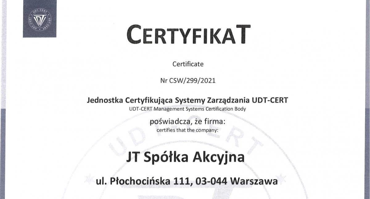 Nowe Certyfikaty UDT-CERT dla JT S.A.